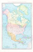 Cor antigo mapa da américa do norte canadá méxico, eua — Foto Stock