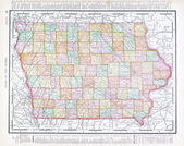 Antique Vintage Color Map of Iowa, USA — Foto Stock