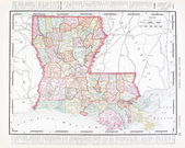 Antique Color Map of Louisiana, United States, USA — Stock Photo