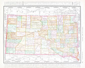 Antique Color Map South Dakota, United States, USA — Stock Photo