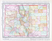 Antique Color Map of Colorado, United States, USA — Stock Photo