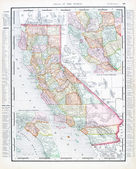 Antique Color Map of California, United States USA — Stock Photo