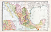 Antique Vintage Color English Map of Mexico — Stock Photo