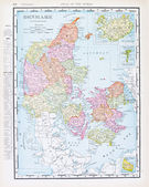 Antique Color English Map of Denmark and Iceland — Stock Photo