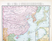 Antique Color English Map of China, Korea, Japan — Stock Photo