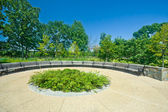 Wide Angle Curving Benches Park Outside in a Row — Stock Photo