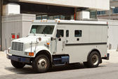 Armoured Armored Car Parked on Street Building — Stock Photo