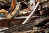 Big Pile Rusty Scrap Steel Girders Demolition Site — Stock Photo