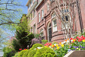 Spring Flowers Richardsonian Romanesque Row Houses — Stock Photo