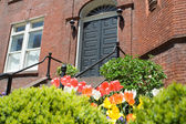 Brick Richardsonian Romanesque Row Home Spring — Stock Photo