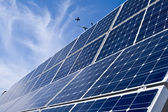 Rows Photovoltaic Solar Panels Distance Blue Sky — Stock Photo