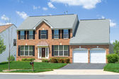 Single Family Home Front View Brick Suburban MD — Stock Photo