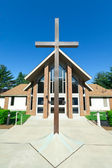Modern Church A Frame Gabled Roof Metal Cross — Stock Photo