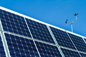 Outdoor Photovoltaic PV Solar Panels Anemometer — Stock Photo