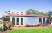 Modern Solar House Solar Panels Solar Water Heater — Stock Photo