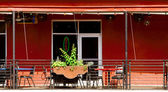 Porch of Southwestern Style Restaurant in Primary Colors, Roof, — Stock Photo
