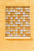 Yellow Window with Opaque Orange White Glass — Stock Photo