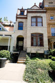 Painted Richardsonian Romanesque Row House DC US — Stock Photo