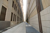 Alley Between Two Modern Office Buildings, Wide Angle Lens — Stock Photo