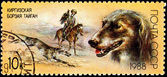 Taigan Kirghiz Dog Hunting with Golden Eagle — Stock Photo