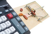 Mouse Trap with Beans and Adding Machine. Accounting Theme — Stock Photo