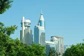 Modern Office Buildings in Shanghai China Skyline Trees — Stock Photo
