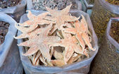 食品市場、広州、中国の乾燥したヒトデの袋 — ストック写真