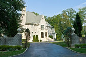 French Eclectic Revival Chateau Style Single Family Home, Suburb — Stock Photo