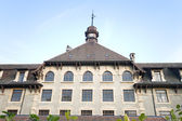 Imposing Old Gothic School in Geneva Switzerland Wide Angle Lens — Stock Photo