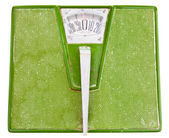 Vintage Dirty Green Bathroom Scale Isolated on White Background — Stock Photo