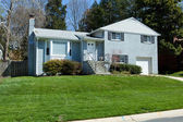 Blue Brick Split Level Single Family House Home Suburban Marylan — Stock Photo