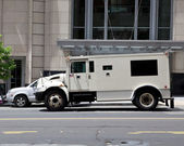 Side View Armoured Armored Car Parked on Street Outside Building — Stock Photo