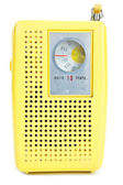Vintage Yellow Plastic Transistor Radio Isolated White Backgroun — Stock Photo