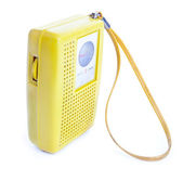Vintage Yellow Plastic Transistor Radio Isolated on White — Stock Photo