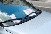 Parking Ticket Under Windshield Wiper On Car, Warning Sign — Stock Photo