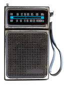 Vintage Black Portable Transistor Radio Isolated on White Backgr — Stock Photo