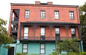 Italian Renaissance Style House, Victorian Wrought Iron Balcony, — Stock Photo