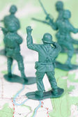 Plastic Army Men Fighting Topographic Map Leader — Stock Photo