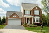 Front View Brick Single Family House Home Suburban Maryland, USA — Stock Photo
