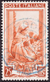 Drawing Woman Sorting Fruit, Used Italian Stamp, Cancelled Cance — Stock Photo