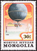 Mongolian Balloon Air Mail Postage Stamp Blanchard Crossing Engl — Stock Photo