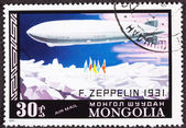 Graf zeppelin vol north pole, air mongol courrier affranchissement stam — Photo