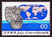 Stamp Tenshō Embassy 1582 Sailing Ship World Map — Stock Photo