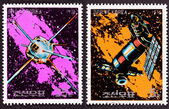 Canceled North Korean Postage Stamp Space Themed Satellites Milk — Stockfoto