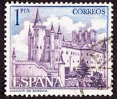 Stamp Segovia Castle, Spain, Ornate Fortification — Stock Photo