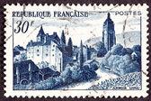 Stämpel chateau bontemps, arbois jura vinyard ström — Stockfoto