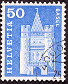 Swiss Stamp Spalen Gate in Basel — Stock Photo