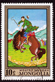 Canceled Mongolian Postage Stamp Bucking Bronco Man Breaking Wil — Stock Photo