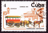 Cuban Postage Stamp Horse Team Pulling Passenger Street Car — Stock Photo