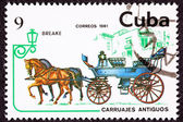 Canceled Cuban Postage Stamp Horse Team Pulling Break, Brake Car — Stock Photo